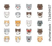 cute cartoon cats and dogs with ... | Shutterstock .eps vector #713654437