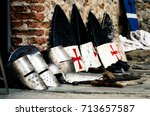 medieval weapons  shields and... | Shutterstock . vector #713657587