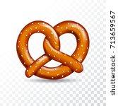 realistic vector tasty pretzel... | Shutterstock .eps vector #713659567