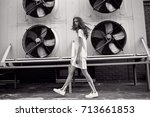 streetstyle  fashion. bw girl... | Shutterstock . vector #713661853