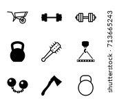 heavy icons set. set of 9 heavy ... | Shutterstock .eps vector #713665243