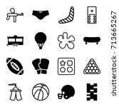 recreation icons set. set of 16 ... | Shutterstock .eps vector #713665267