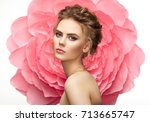 beautiful woman on the... | Shutterstock . vector #713665747