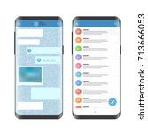 modern smartphone messenger app.... | Shutterstock .eps vector #713666053