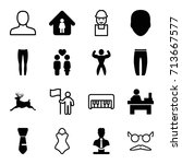 Male Icons Set. Set Of 16 Male...
