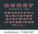 futuristic font with contour... | Shutterstock .eps vector #713667607