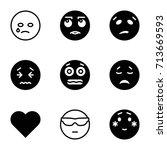 emotion icons set. set of 9... | Shutterstock .eps vector #713669593