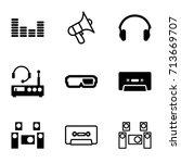 stereo icons set. set of 9... | Shutterstock .eps vector #713669707