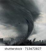 tornado twisting above city  | Shutterstock . vector #713672827