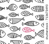 line fish. seamless pattern... | Shutterstock .eps vector #713673493