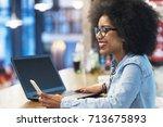 beautiful afro american woman... | Shutterstock . vector #713675893