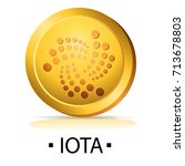 iota. gold coin with...   Shutterstock .eps vector #713678803