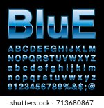 blue alphabet  fat blue letters ... | Shutterstock .eps vector #713680867