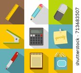 stationery related icon set.... | Shutterstock .eps vector #713683507