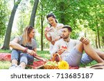 group of friends having pic nic ... | Shutterstock . vector #713685187