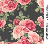 seamless pattern with roses.... | Shutterstock .eps vector #713689063
