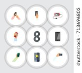 flat icon touchscreen set of... | Shutterstock .eps vector #713696803