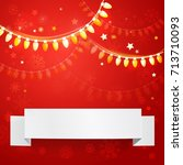 christmas red background with... | Shutterstock .eps vector #713710093