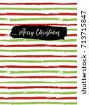 merry christmas greeting card ... | Shutterstock .eps vector #713715847