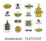 set of craft beer label and... | Shutterstock .eps vector #713717137