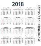 calendar 2018 year. week starts ... | Shutterstock .eps vector #713721397