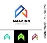 abstract letter a logo design... | Shutterstock .eps vector #713731693