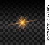 yellow glowing light glitter | Shutterstock .eps vector #713741047