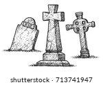 gravestone illustration ... | Shutterstock .eps vector #713741947