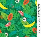 seamless pattern with tropical... | Shutterstock .eps vector #713742277