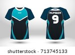 blue and black layout football... | Shutterstock .eps vector #713745133