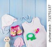 newborn accessories for a baby... | Shutterstock . vector #713751157