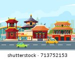 chinese urban landscape with...   Shutterstock .eps vector #713752153
