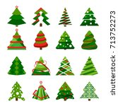 christmas tree in different... | Shutterstock .eps vector #713752273
