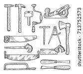 tools in carpentry workshop.... | Shutterstock .eps vector #713752573