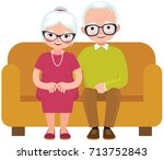 elderly couple husband and wife ... | Shutterstock . vector #713752843