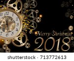 merry christmas 2018... | Shutterstock .eps vector #713772613