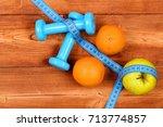 dieting concept  dumbbells... | Shutterstock . vector #713774857