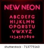 neon font type alphabet....   Shutterstock . vector #713775163