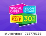summer sale sign banner poster... | Shutterstock . vector #713775193