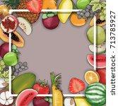 vector hand drawn fruit frame... | Shutterstock .eps vector #713785927