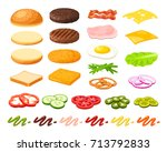 Set of ingredients for burger and sandwich . Sliced veggies, bun, cutlet, sauce. Vector illustration cartoon flat icon collection isolated on white. | Shutterstock vector #713792833