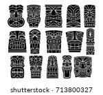 vector set of different tiki... | Shutterstock .eps vector #713800327