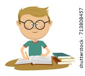 little nerd boy with glasses... | Shutterstock .eps vector #713808457