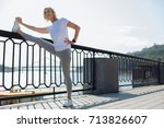 charming senior woman... | Shutterstock . vector #713826607