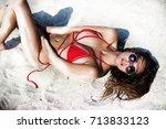 close up beautiful luxury slim...   Shutterstock . vector #713833123