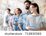 successful colleagues standing... | Shutterstock . vector #713835583