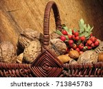 walnuts and wild fruit in the...   Shutterstock . vector #713845783