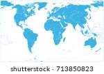 blue world map on white. no... | Shutterstock .eps vector #713850823