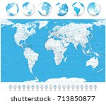 world map white color   borders ... | Shutterstock .eps vector #713850877