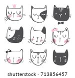 Stock vector cute cats in hand drawn style girl children vector doodle illustration 713856457